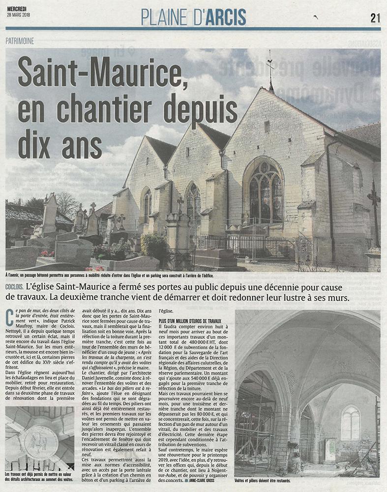 Article Coclois (10) - église Saint-Maurice - La Sauvegarde de l'Art Français