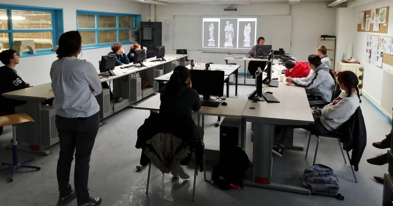 Intervention en classe, lycée de l'Acheuléen d'Amiens