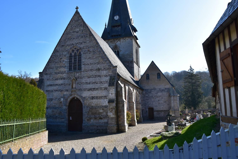 Façade ext ouest Lammerville (76) - église ND