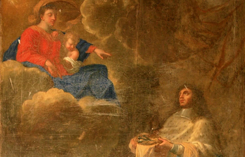 Lamberville (50) Eglise Saint-Jean-Baptiste - Le roi présentant les instruments de la Passion à la Vierge à l'Enfant - Sauvegarde de l'Art Français