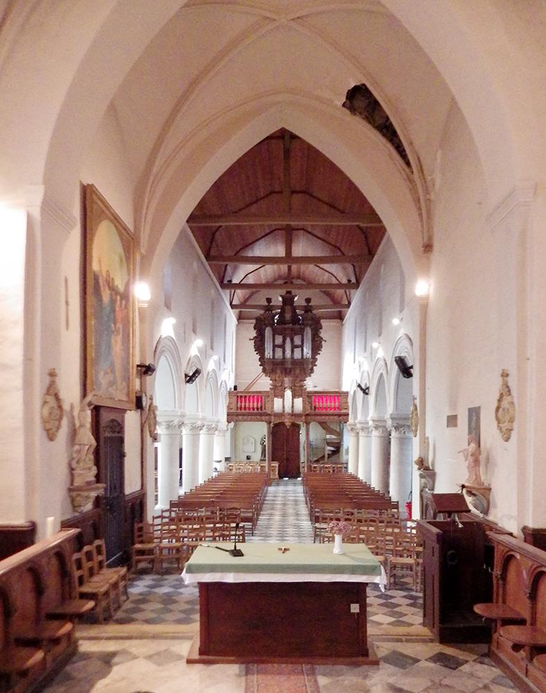 intérieur vers nef Nielles-les-Ardres (62) - église Saint-Pierre - La Sauvegarde de l'Art Français