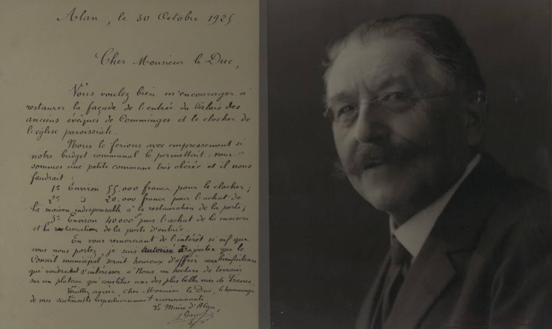 Alan (31) Lettre de M. Daure, Maire, au duc de Trévise - Sauvegarde de l'Art Français