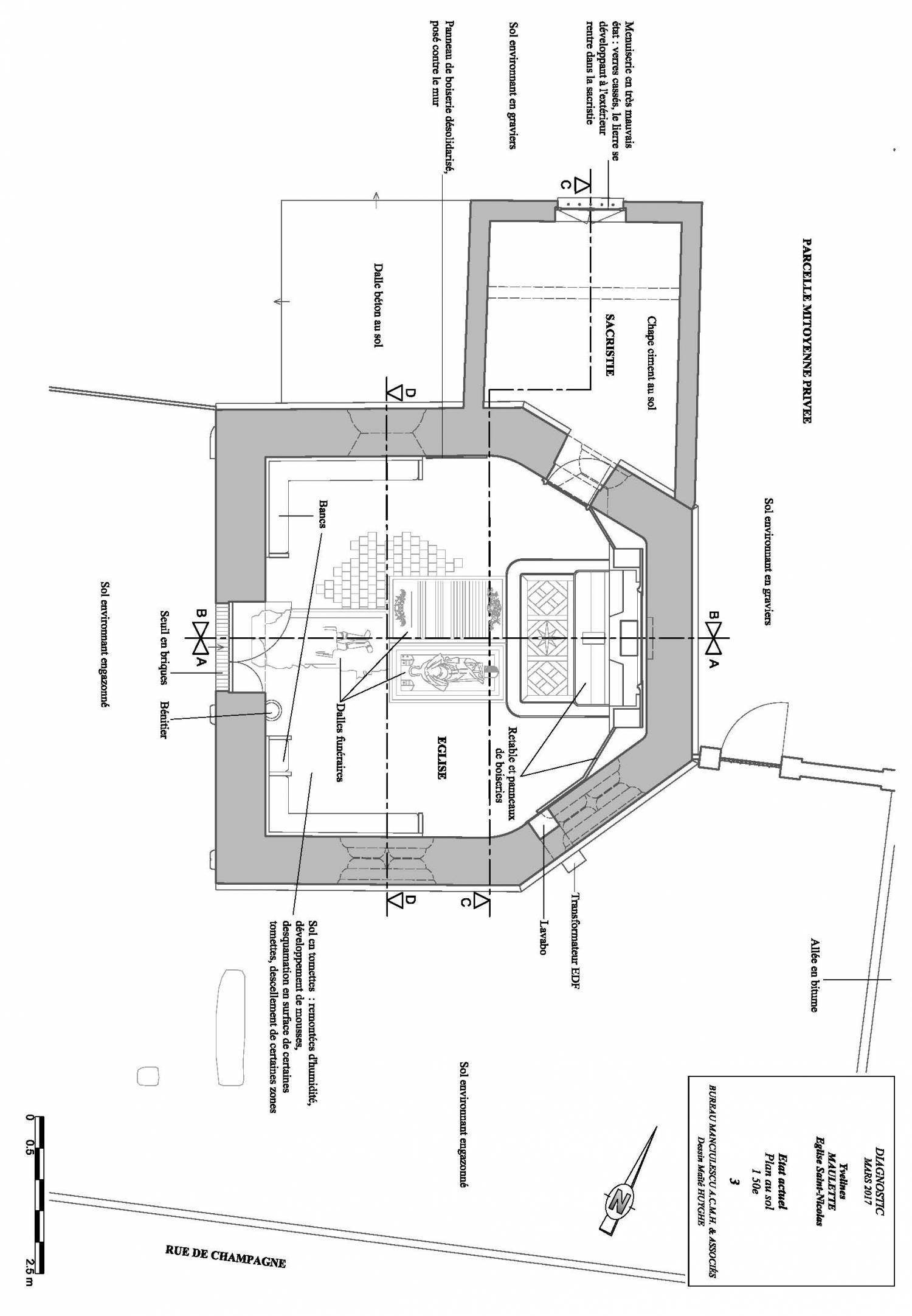 Plan Maulette (78) - chapelle Saint-Nicolas de Thionville-sur-Opton